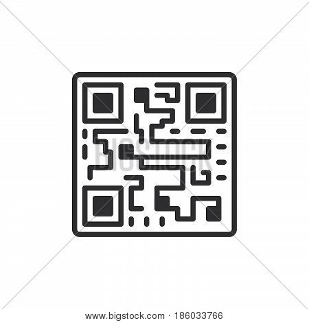 QR code icon vector filled flat sign solid pictogram isolated on white. Symbol logo illustration. Pixel perfect