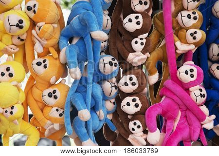 Chengdu China April 03 2017 Souvenirs of stuffed monkeys for sale along the famous Kuanzhai Alleys in Chengdu Sichuan province China
