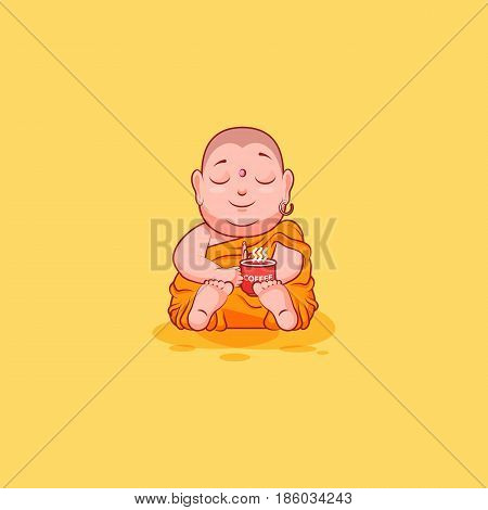 Sticker emoji emoticon emotion vector isolated illustration happy character cartoon Buddha just woke up with cup of coffee sticker Buddhist monk kashaya yellow background for mobile app info graphics.