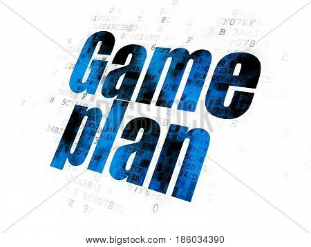 Business concept: Pixelated blue text Game Plan on Digital background