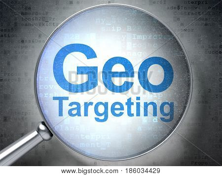 Finance concept: magnifying optical glass with words Geo Targeting on digital background, 3D rendering