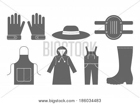 Protective clothing for working in the garden. Flat black icons, objects of work clothing. Illustration