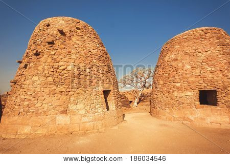 Two brick structures with strange egg form erected for cooking near the ancient hindu temples of Karnataka, India