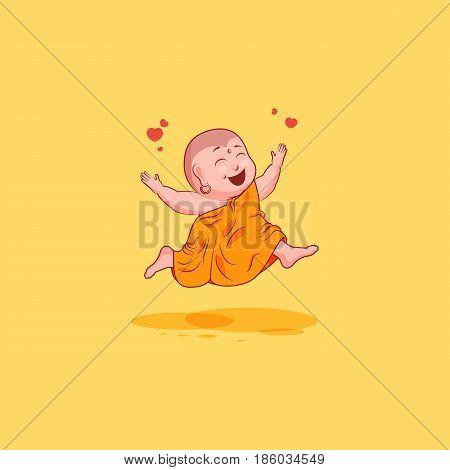 Sticker emoji emoticon emotion vector isolated illustration happy character cartoon Buddha jumping for joy gladness cheer sticker Buddhist monk kashaya yellow background for mobile app, info graphics