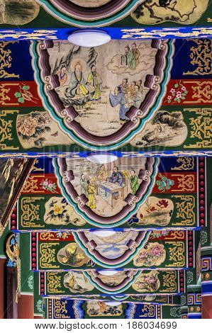 Architectural details of the Qingyang Temple in Chengdu sichuan province China
