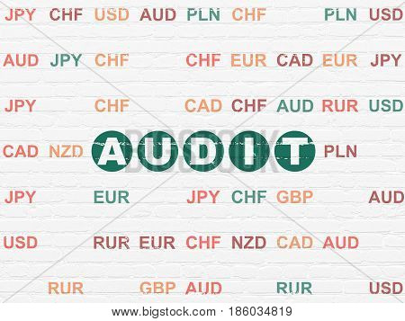 Business concept: Painted green text Audit on White Brick wall background with Currency