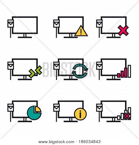 Vector linear icons for computer local area network and monitor with cable and various types of connections isolated on white background