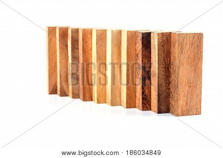 Blocks of wood isolated Concept white background