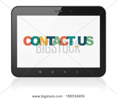 Finance concept: Tablet Computer with Painted multicolor text Contact us on display, 3D rendering