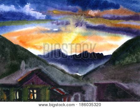 View from the hill in sunset. Watercolor painted landscape in natural colors. Cute red roofed cottage and trees on the hill and mountain in the distance. Expressive etude manner. Paint strokes.