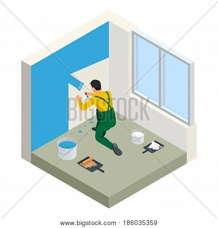Isometric Paintroller painting white wall with roller blue paint. Flat 3d modern vector illustration. Paintroller, people occupations, profession