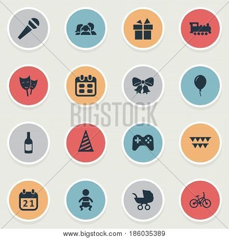 Vector Illustration Set Of Simple Celebration Icons. Elements Infant, Resonate, Train And Other Synonyms Joystick, Bike And Flags.