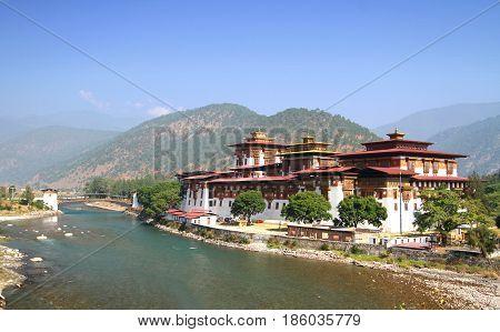 Punakha Dzong Monastery or Pungthang Dewachen Phodrang (Palace of Great Happiness) and Mo Chhu river in Punakha the old capital of Bhutan.