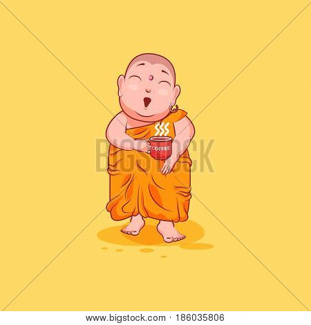 Sticker emoji emoticon emotion vector isolated illustration happy character cartoon Buddha surprised with cup of coffee sticker Buddhist monk saffron kashaya yellow background mobile app infographic.
