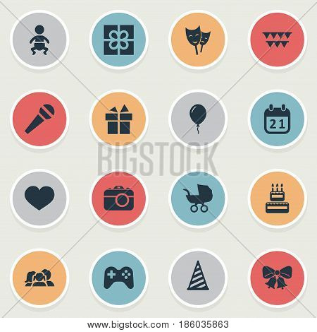 Vector Illustration Set Of Simple Holiday Icons. Elements Speech, Mask, Aerostat And Other Synonyms Photography, Party And Actor.