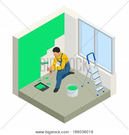 Isometric Paintroller painting white wall with roller red paint. Flat 3d modern vector illustration. Paintroller, people occupations, profession