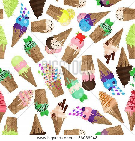 Ice cream cone seamless pattern. Flake and scoops of ice cream background. Endless ice cream cone and flake pattern isolated on white background.