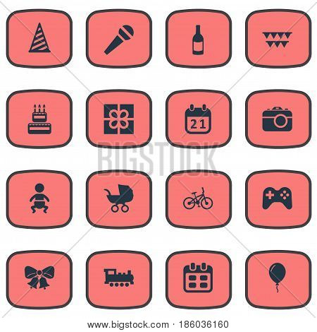 Vector Illustration Set Of Simple Celebration Icons. Elements Train, Infant, Cap And Other Synonyms Play, Speech And Resonate.