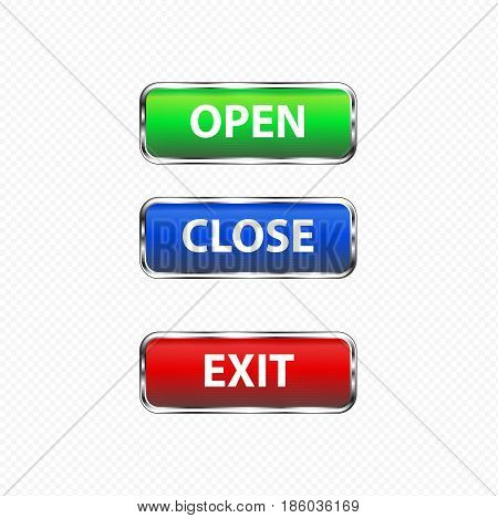button exit open close red green and blue color