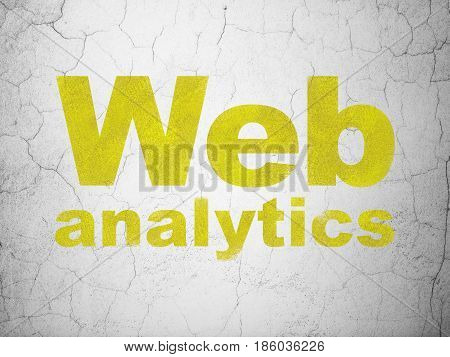 Web design concept: Yellow Web Analytics on textured concrete wall background