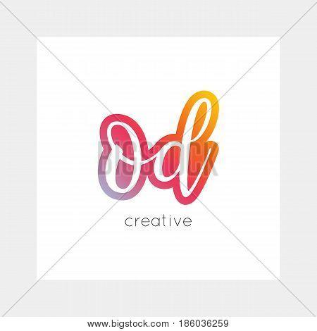 OD logo, vector. Useful as branding, app icon, alphabet combination, clip-art.