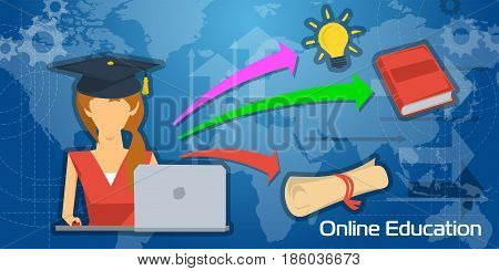 Vector concept online education. Studying female student in graduate cap with computer on world map background and red book, lamp bulb and scroll of diploma in flat style