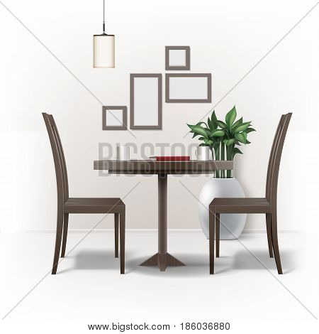 Vector dining room interior with round brown wooden table, two chairs, red book, cups of coffee or tea, lamp, plant in pot and photo frames on wall isolated on white background