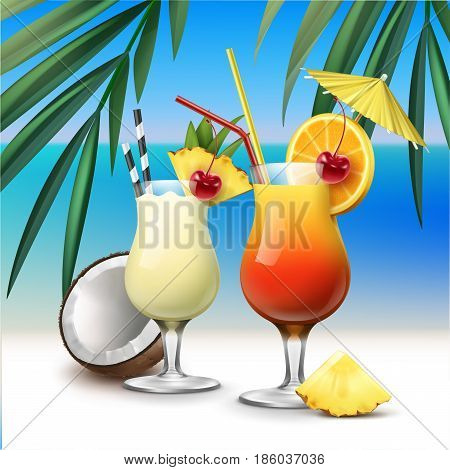 Vector tropical cocktails Tequila Sunrise and Pina Colada on azure seaside with palm leaves background