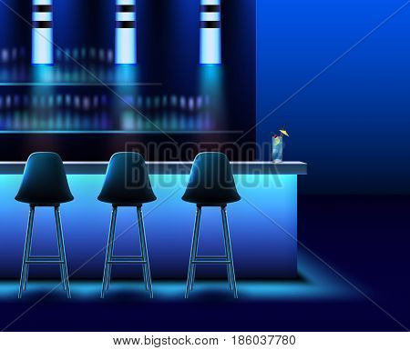 Vector empty night club interior in blue colors with bar counter, chairs, lamps and alcohol