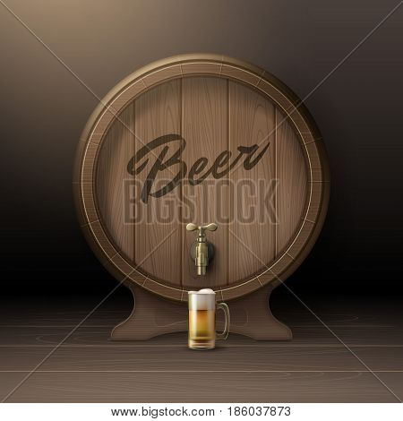 Vector old wooden barrel on rack with bronze stopcock and glass mug of beer front view isolated on background