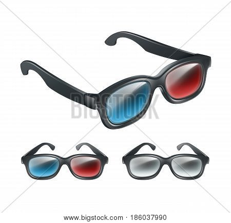 Vector set of black plastic 3d glasses in perspective isolated on gray background