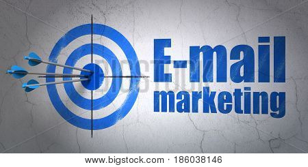 Success marketing concept: arrows hitting the center of target, Blue E-mail Marketing on wall background, 3D rendering