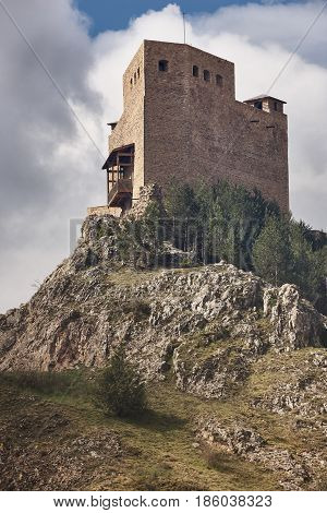 Medieval castle in Spain. Teruel heritage. Alcala de la Selva landmark
