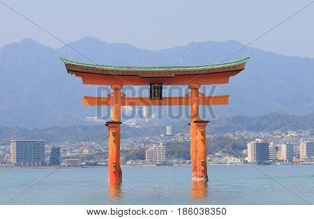 Itsukushima shrine Miyajima island Hiroshima Japan. Translation - Itsukushima shrine