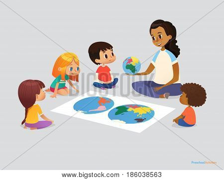 Happy school kids and teacher sit in circle around atlas and discuss geographical questions during lesson. Preschool activities concept. Vector illustration for poster, advertisement, website, banner