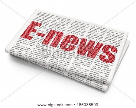 News concept: Pixelated red text E-news on Newspaper background, 3D rendering