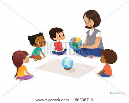 Friendly teacher demonstrates globe to children and tells them about continents. Woman teaches kids using Montessori materials during kindergarten lesson. Vector illustration for banner, website