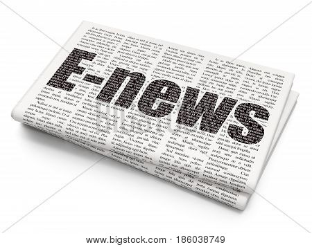 News concept: Pixelated black text E-news on Newspaper background, 3D rendering