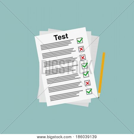 Exam test lists. vector illustration. education and business