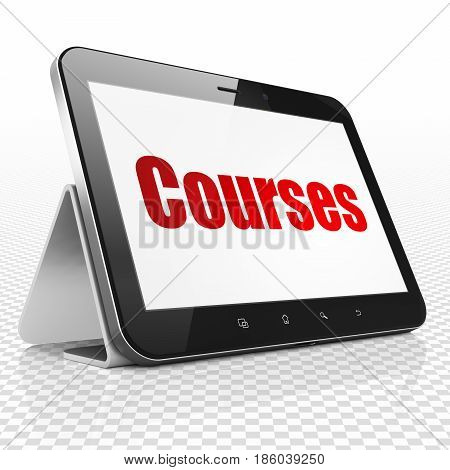 Studying concept: Tablet Computer with red text Courses on display, 3D rendering