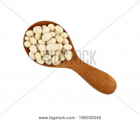 White Frigole Kidney Beans In Wood Scoop On White