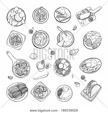 Set of mexican traditional food. Different dishes collection spicy bean soup chili, nachos, tortilla, fachitos, quesadilla, taco, guacamole. Hand drawn sketch, black and white vector illustration