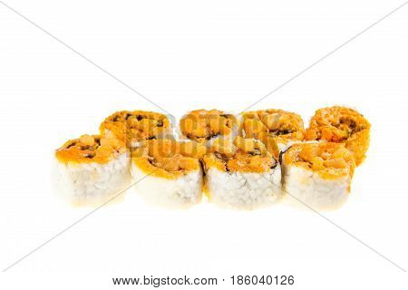 Set Of Baked Hokkaido Rolls With Tuna,squid, Nori, Green Onion, Spicy Sauce