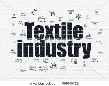 Manufacuring concept: Painted black text Textile Industry on White Brick wall background with  Hand Drawn Industry Icons