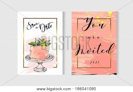 Hand drawn vector abstract freehand textured unusual save the date cards set template with cake stand design, flowers, lemon, golden frame and modern calligraphy in peach colors.Wedding, birthday, rsvp.