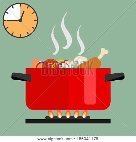 Time of soup preparation. Red cooking pot on stove with water and steam. Time of soup preparation. Flat design vector illustration vector.