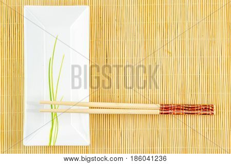 sushi set decoration on a bamboo placemat