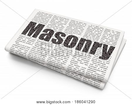 Constructing concept: Pixelated black text Masonry on Newspaper background, 3D rendering