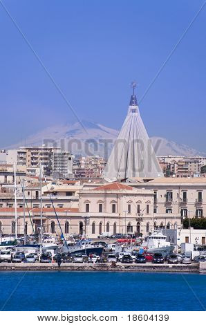 Siracusa Cityscape With Mount Etna