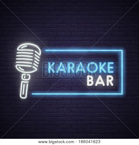 Karaoke neon sign. Neon sign, bright signboard, light banner.
